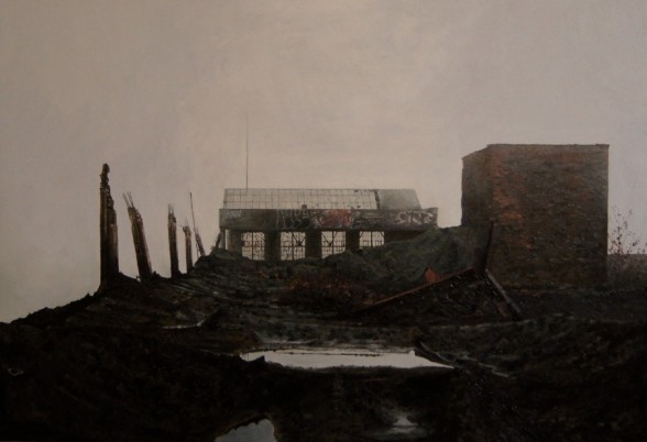 "Stephanie Buer 'Fog on the Roof of the Packard I' - Oil on canvas - 38x26"" (2012)"