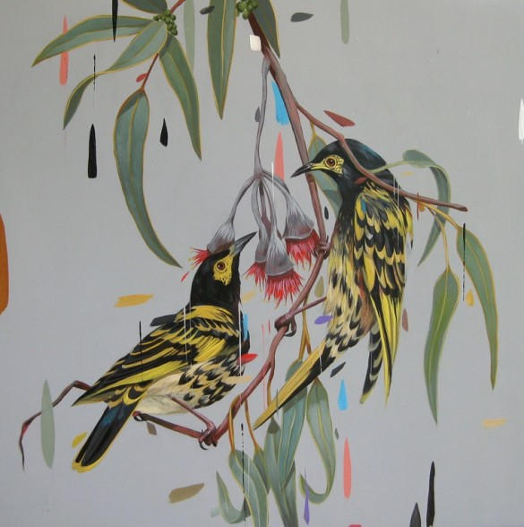 Frank Gonzales 'Regent Honeyeaters' - acrylic on wood panel