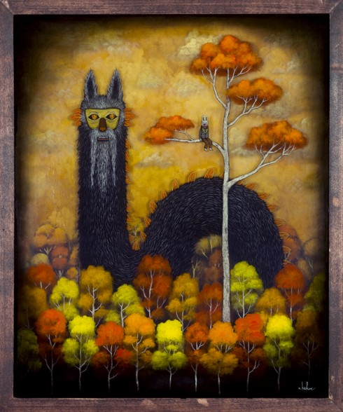 Andy Kehoe 'Meeting With Majesty' - oil, acrylic and resin in cradled wood panel (2012)