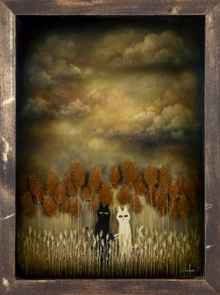 Andy Kehoe 'Secret Meeting' - acrylic, oil and resin on wood (2012)